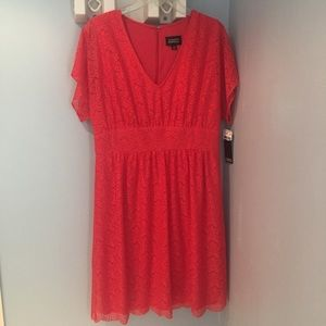 Adriana Papell orange lace overlay dress, size 14